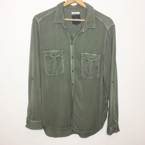 American Eagle olive green boyfriend fit shirt XL
